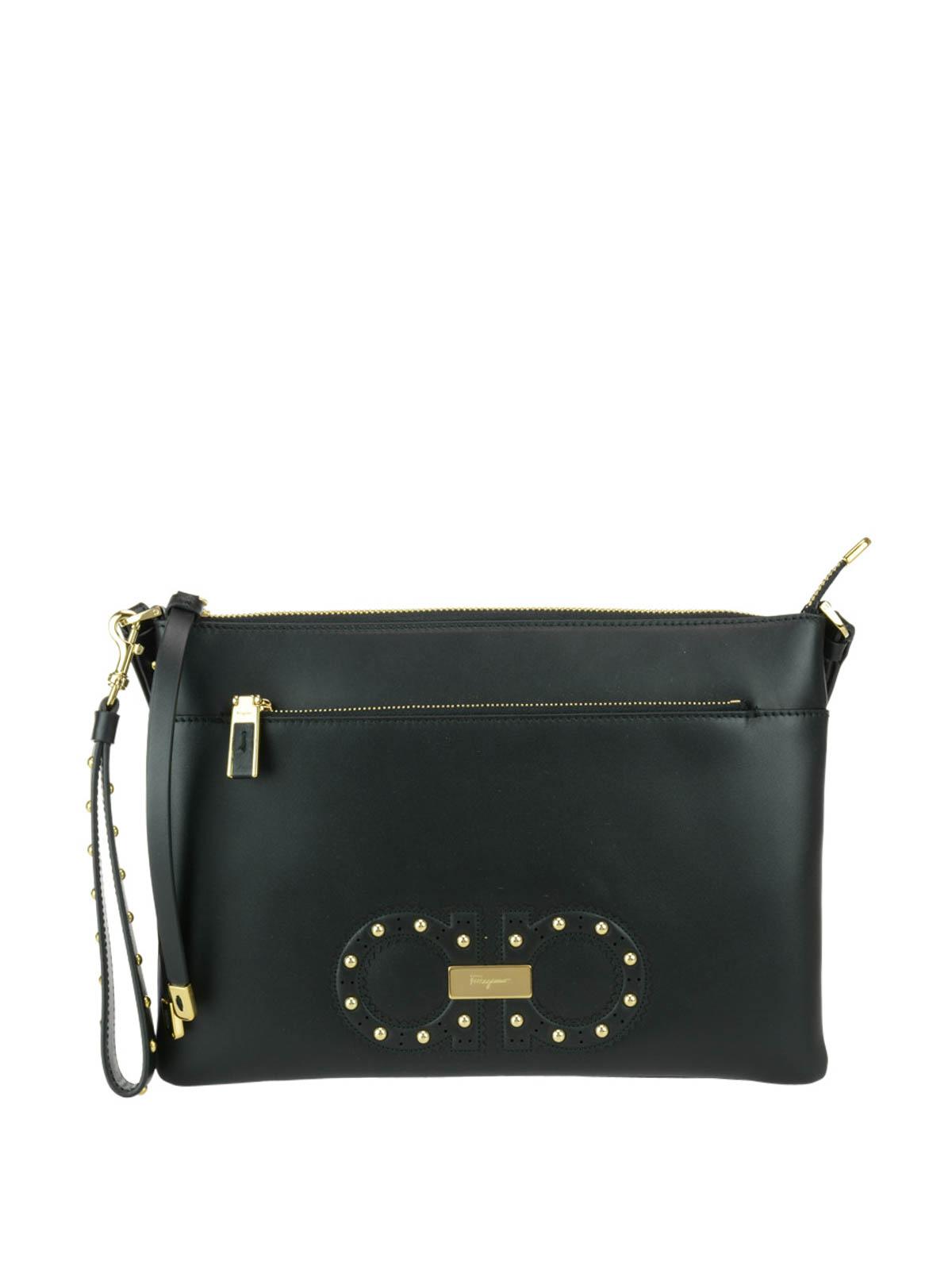 Where Can I Order Low Price Sale Online double Gancio clutch bag - Black Salvatore Ferragamo Cheap Sneakernews h3NhWNN