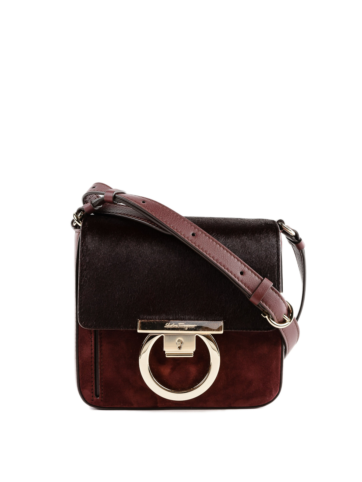 SALVATORE FERRAGAMO  cross body bags - Lock suede and hair calf cross body  bag c9aa8b525af38