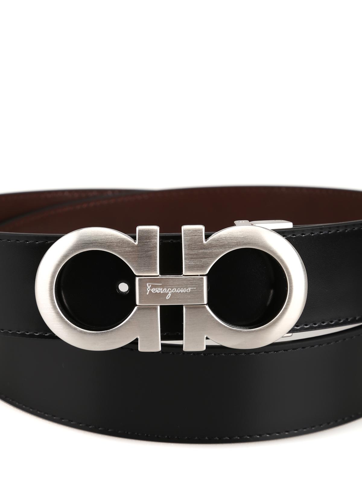 95ca1f9e565c SALVATORE FERRAGAMO: cinture online - Cintura reversibile in pelle nera e  marrone