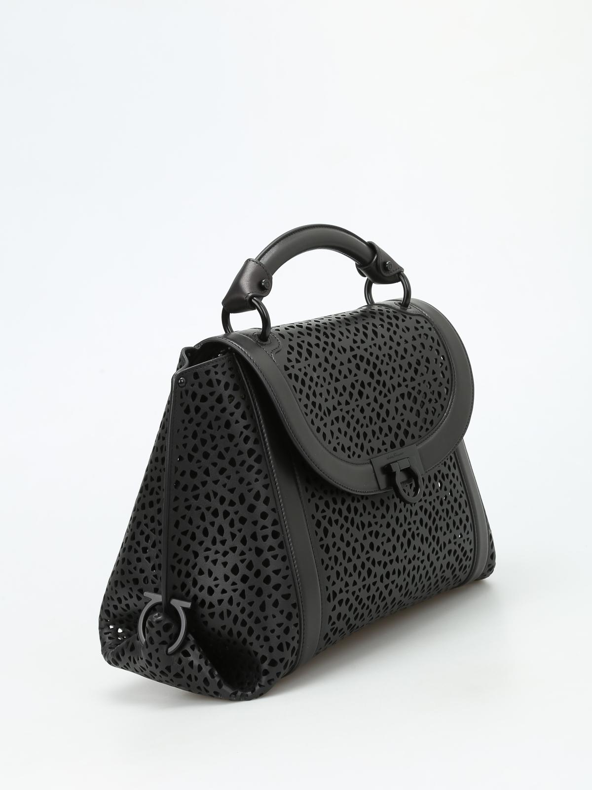 8ef1779db367 ... SALVATORE FERRAGAMO bowling bags online - Soft Sofia laser cut medium  handbag san francisco 4e74b 68561 ...