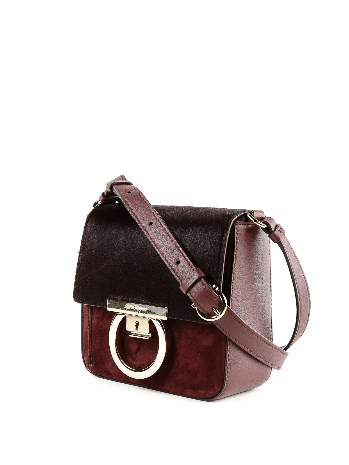 SALVATORE FERRAGAMO  cross body bags online - Lock suede and hair calf cross  body bag d251c975d74ba