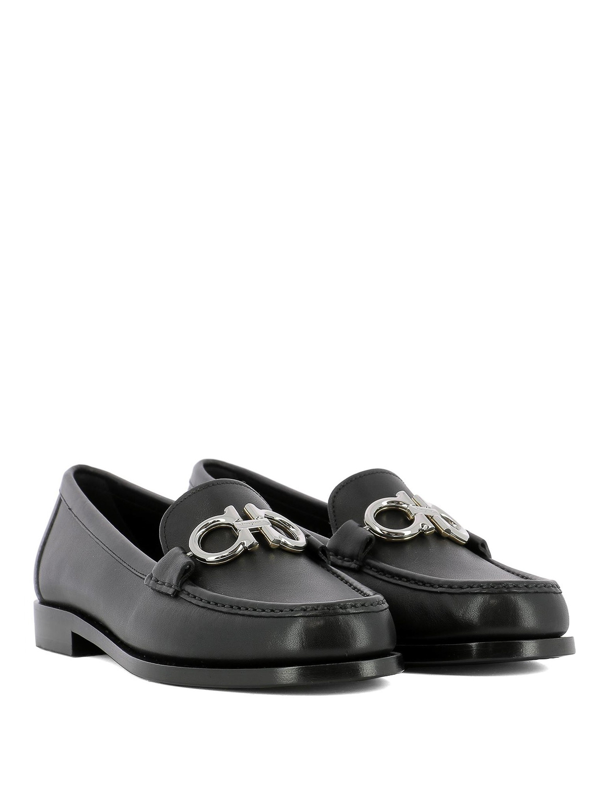 Rolo black leather loafers with Gancini