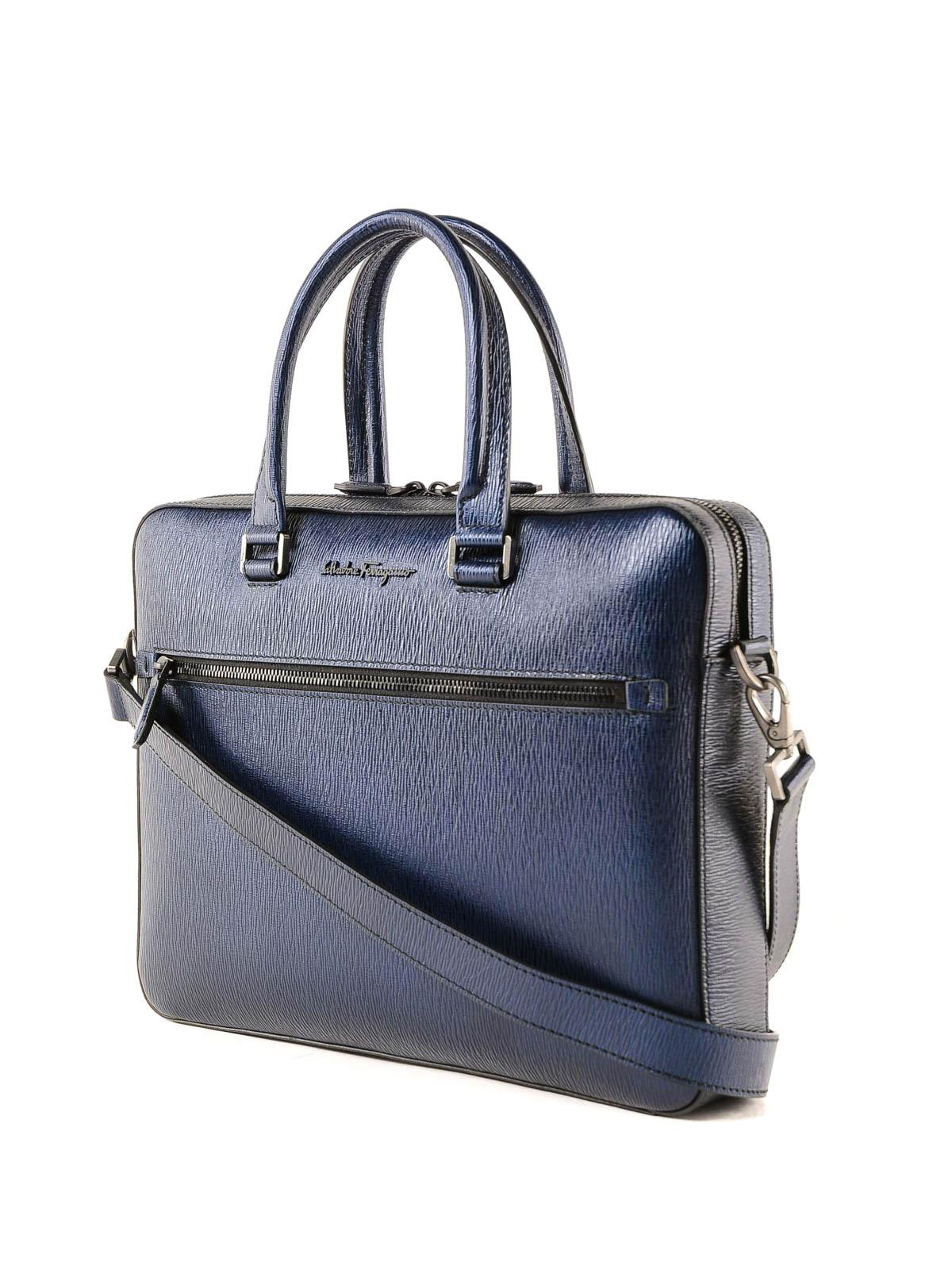 f2f060ead6f3 SALVATORE FERRAGAMO  Luggage   Travel bags online - Navy blue leather  briefcase
