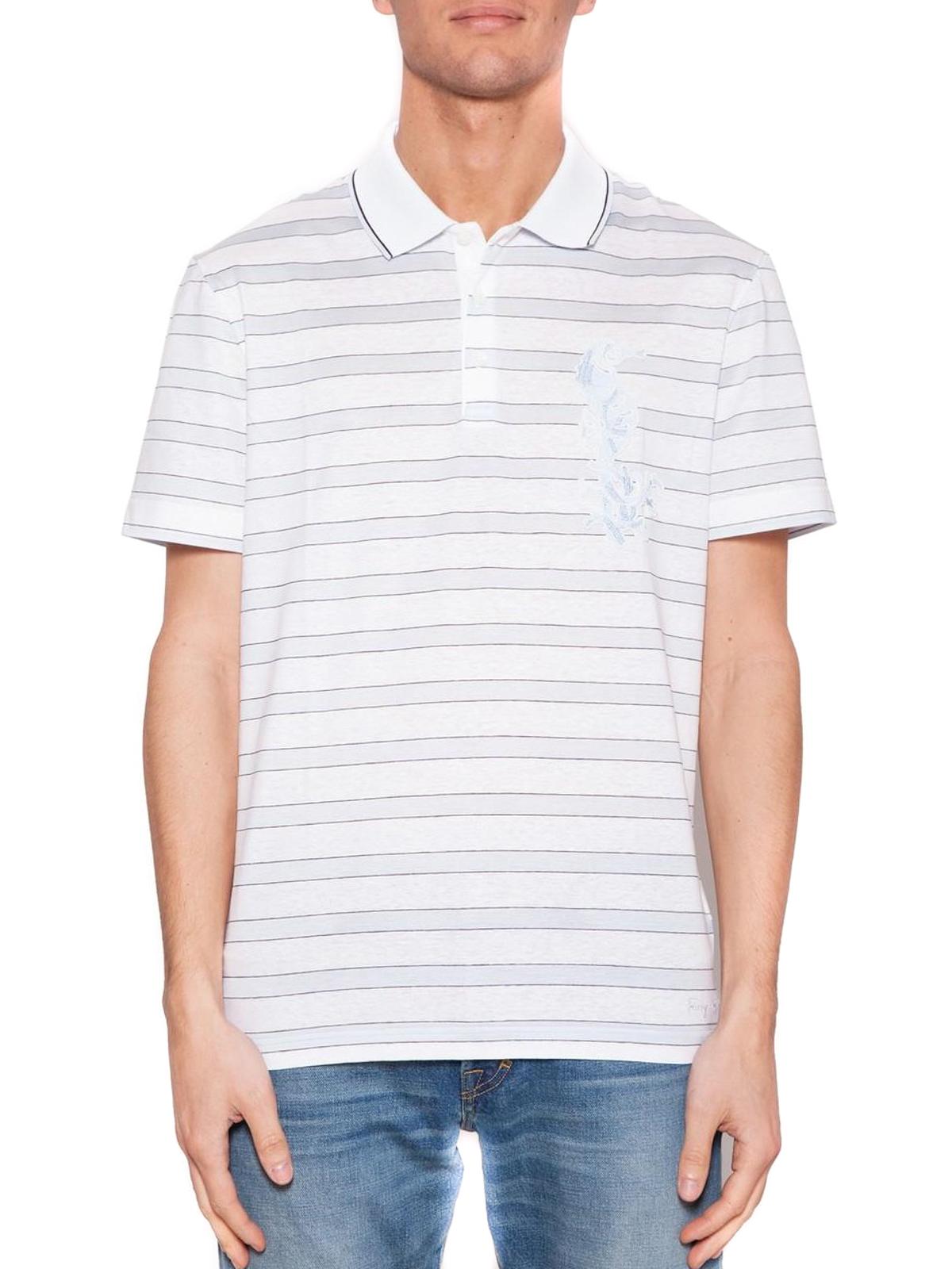 Salvatore Ferragamo Striped Cotton And Linen Polo Shirt Polo
