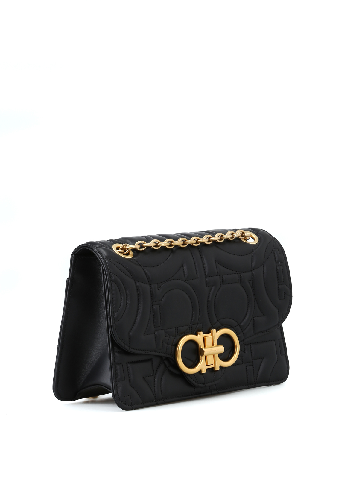 SALVATORE FERRAGAMO  shoulder bags online - Gancini black quilted leather  shoulder bag 08953f5342