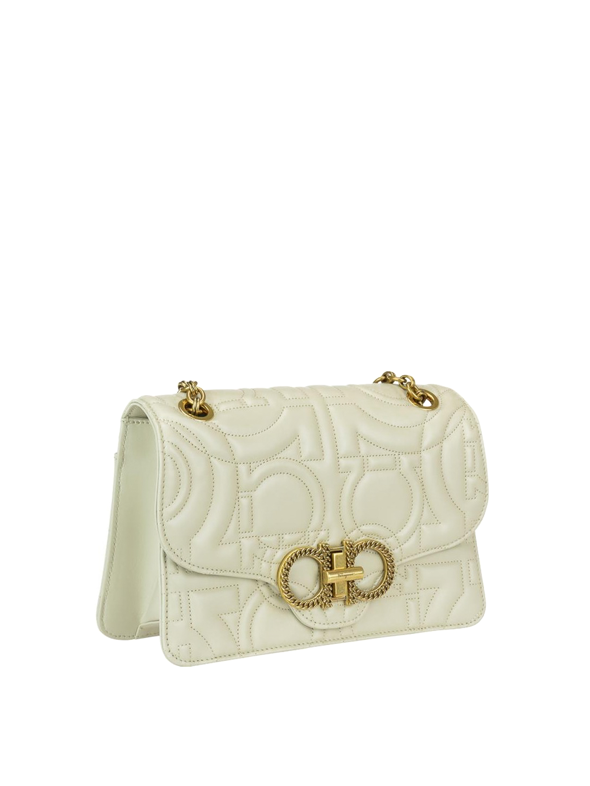SALVATORE FERRAGAMO  shoulder bags online - Gancini white quilted leather  shoulder bag 4aac9b300e