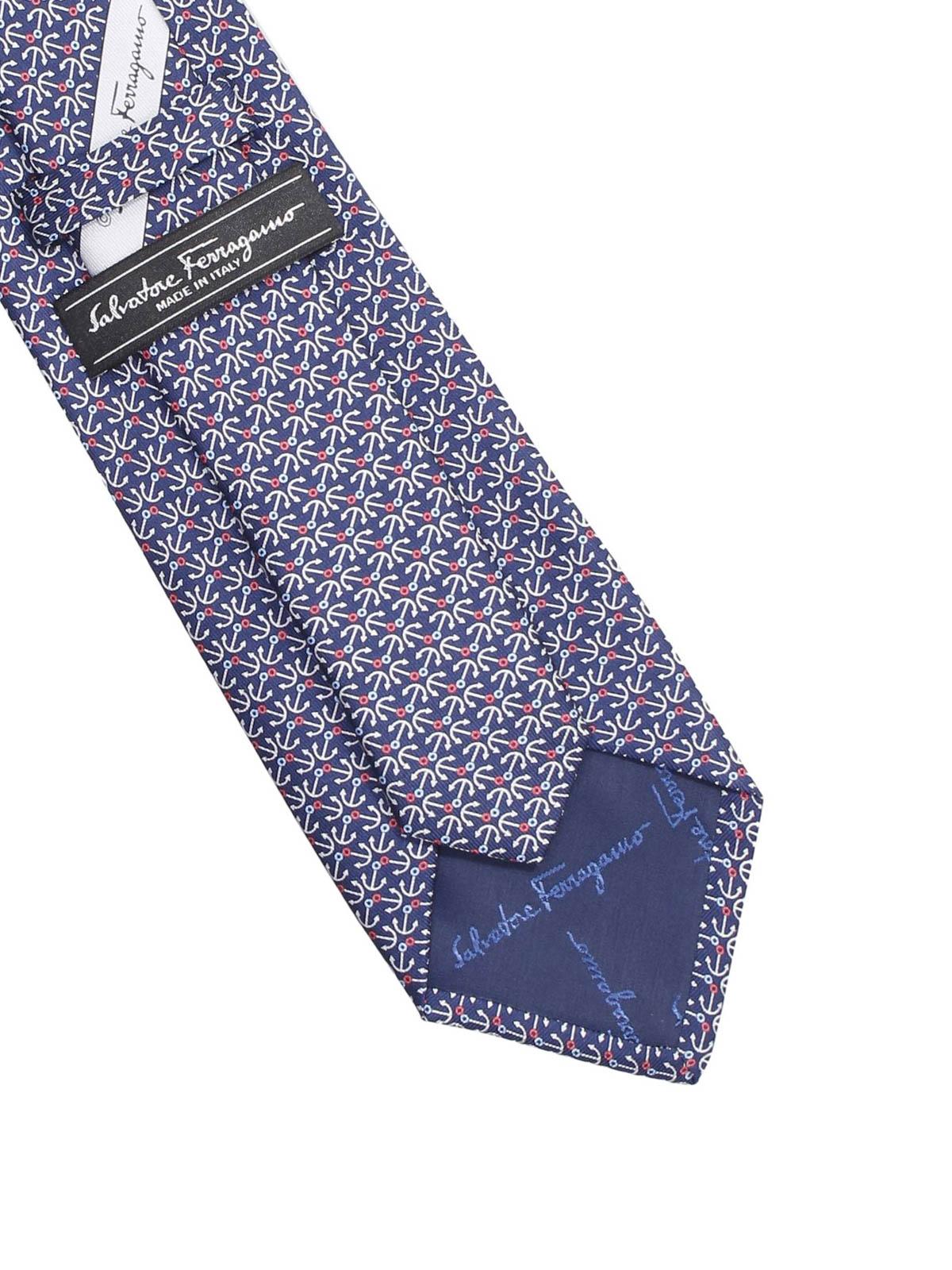 design di qualità c5ac9 632e1 Salvatore Ferragamo - Cravatta in seta con ancore - cravatte ...