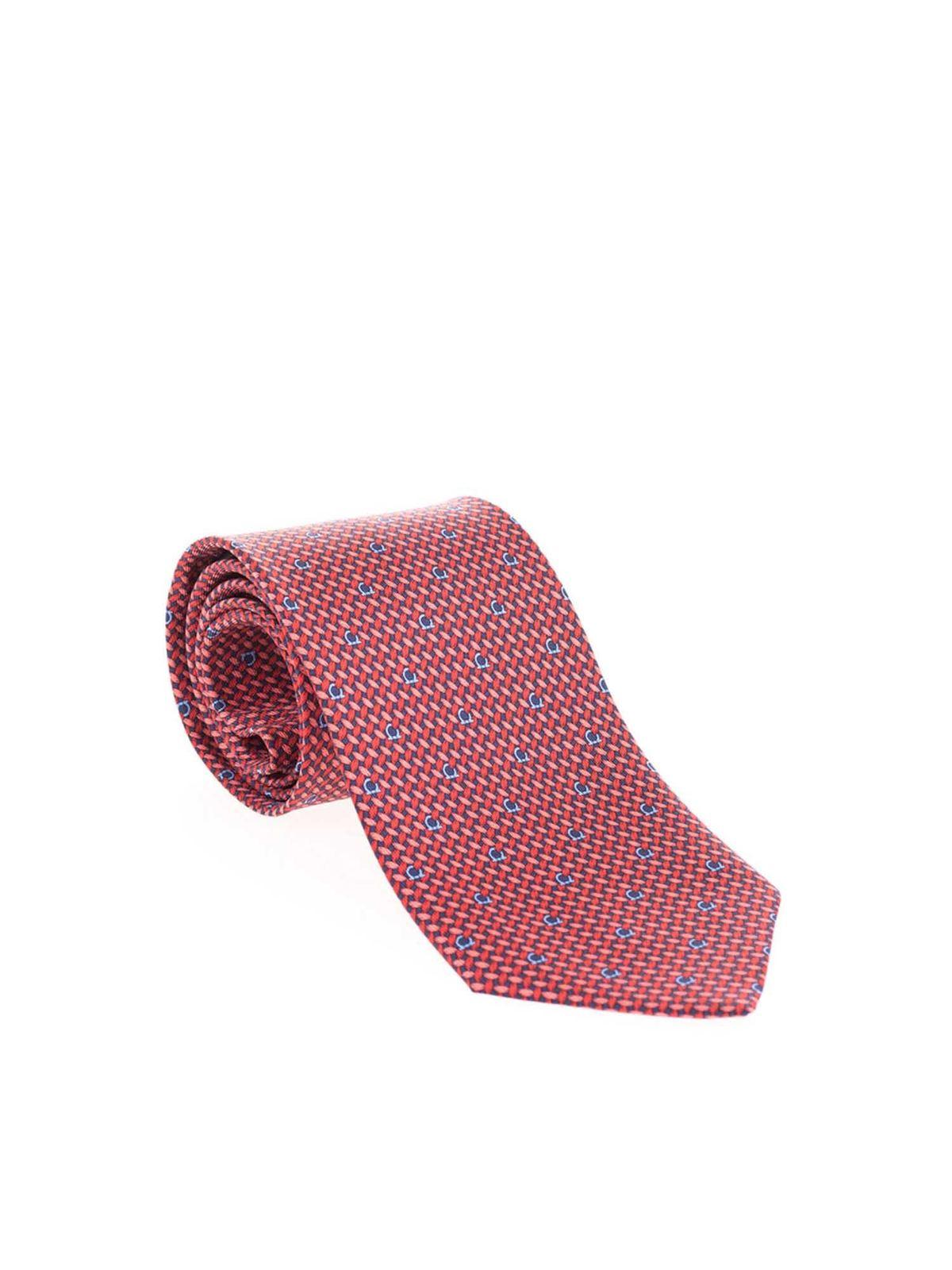 Incorrecto Bajar lava  Salvatore Ferragamo - Gancini tie in red and blue - کراوات، پاپیون - 731645