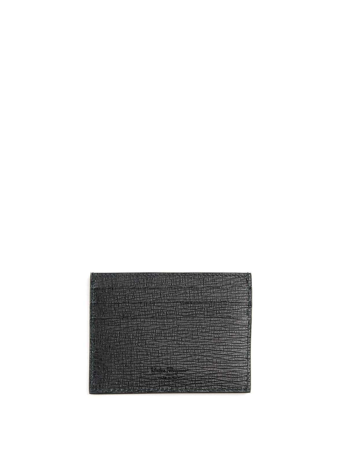 separation shoes 2c33e 400ae Salvatore Ferragamo - Gancini logo textured leather card holder ...