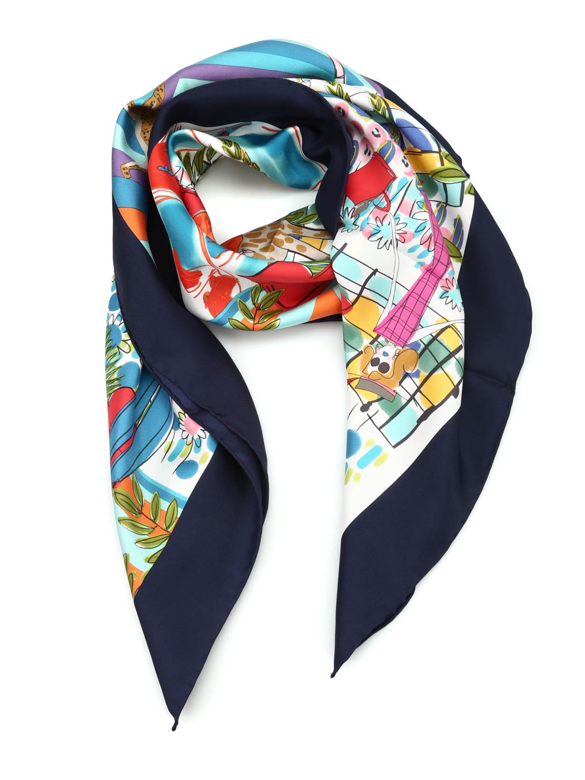 Patchwork silk foulard by Salvatore Ferragamo - scarves - iKRIX