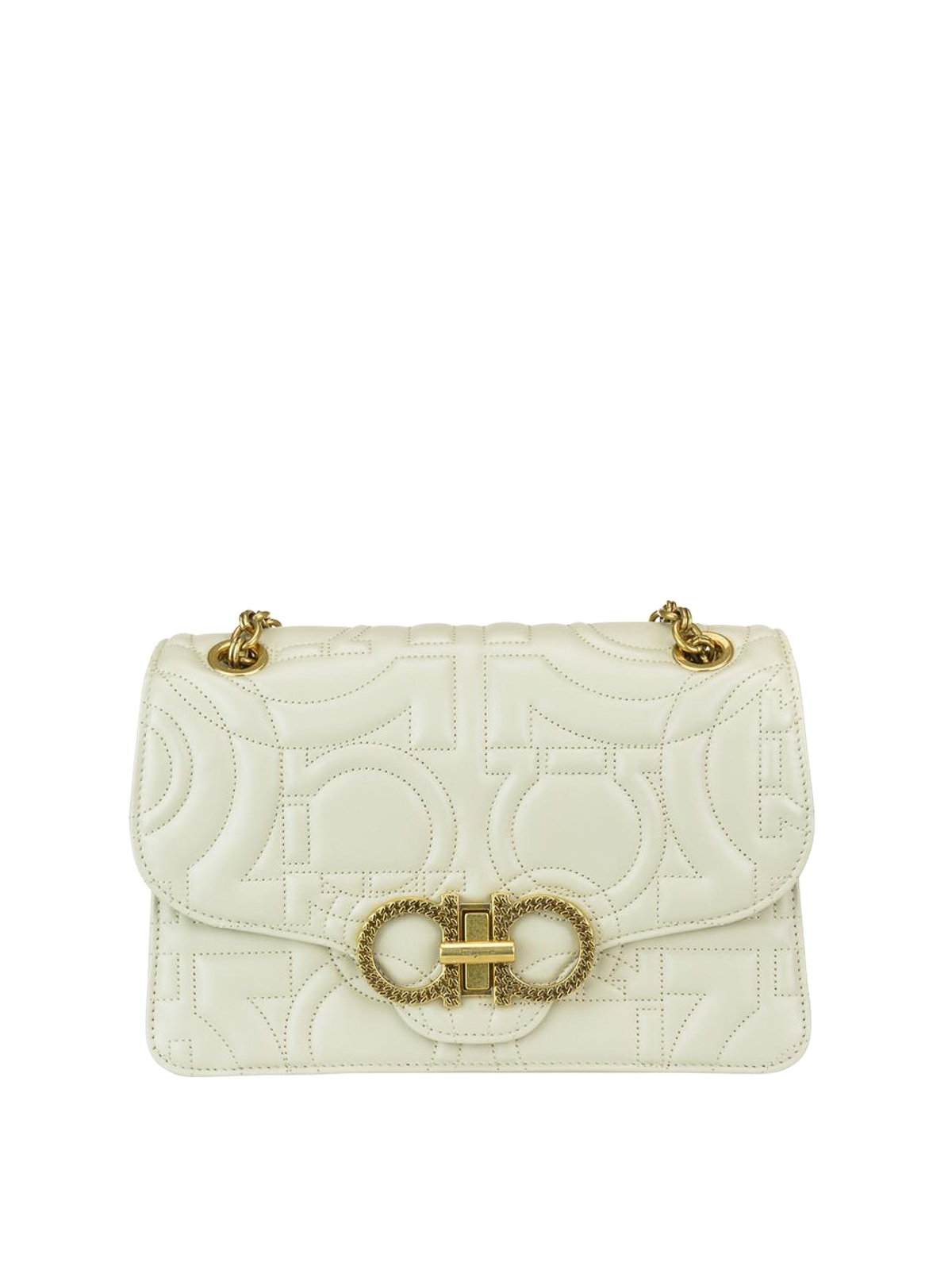 SALVATORE FERRAGAMO  shoulder bags - Gancini white quilted leather shoulder  bag e5af9b07ff