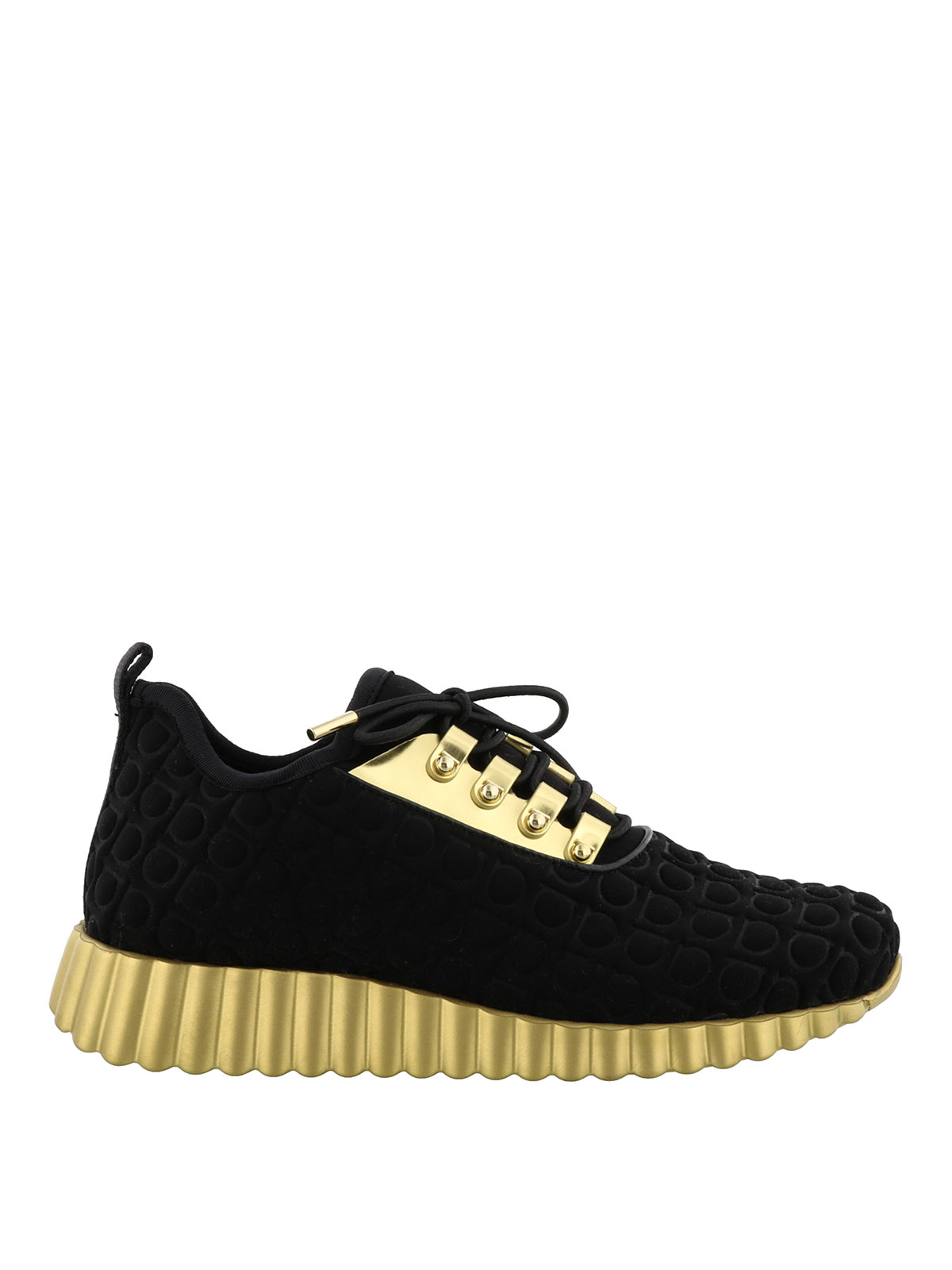 fabric and gold leather sneakers by salvatore ferragamo trainers ikrix. Black Bedroom Furniture Sets. Home Design Ideas