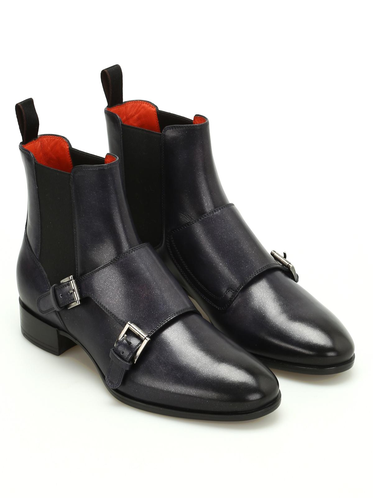c12321e8f5ab2f SANTONI  ankle boots online - Monk strap leather Chelsea boots