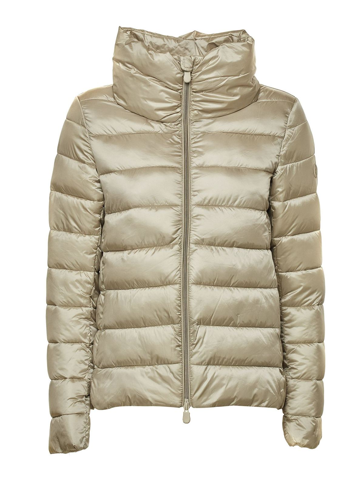 Save The Duck SATIN EFFECT PUFFED JACKET IN BEIGE