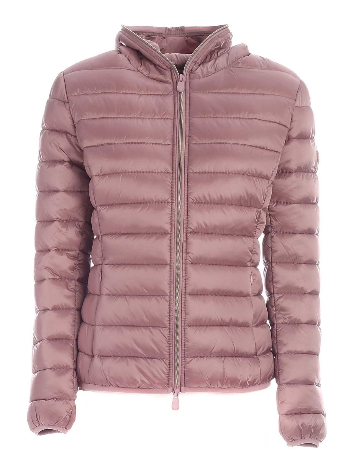 Save The Duck IRISY PINK DOWN JACKET WITH HOOD