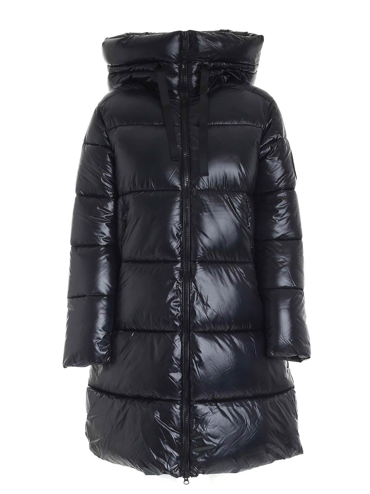 Save The Duck LOGO PATCH MAXI DOWN JACKET IN BLACK
