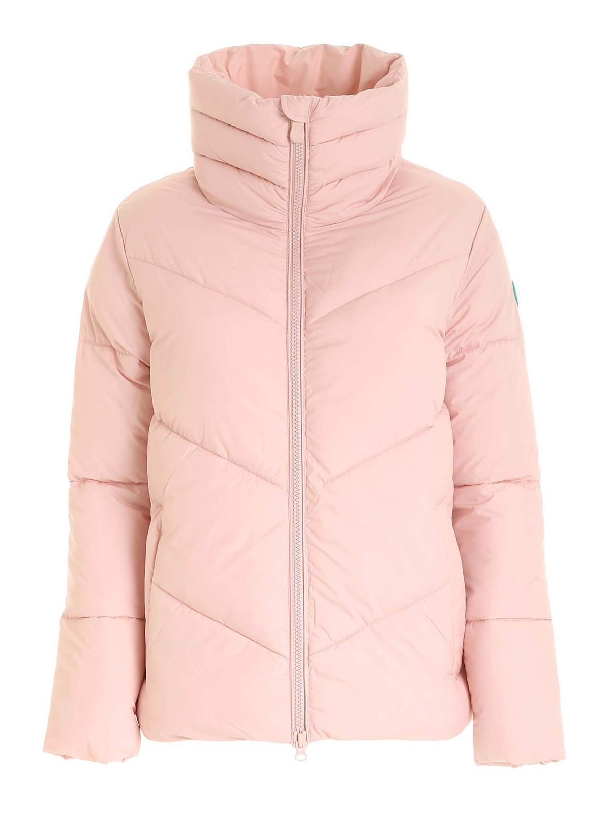 Save The Duck LOGO PATCH PUFFER JACKET IN POWDER PINK