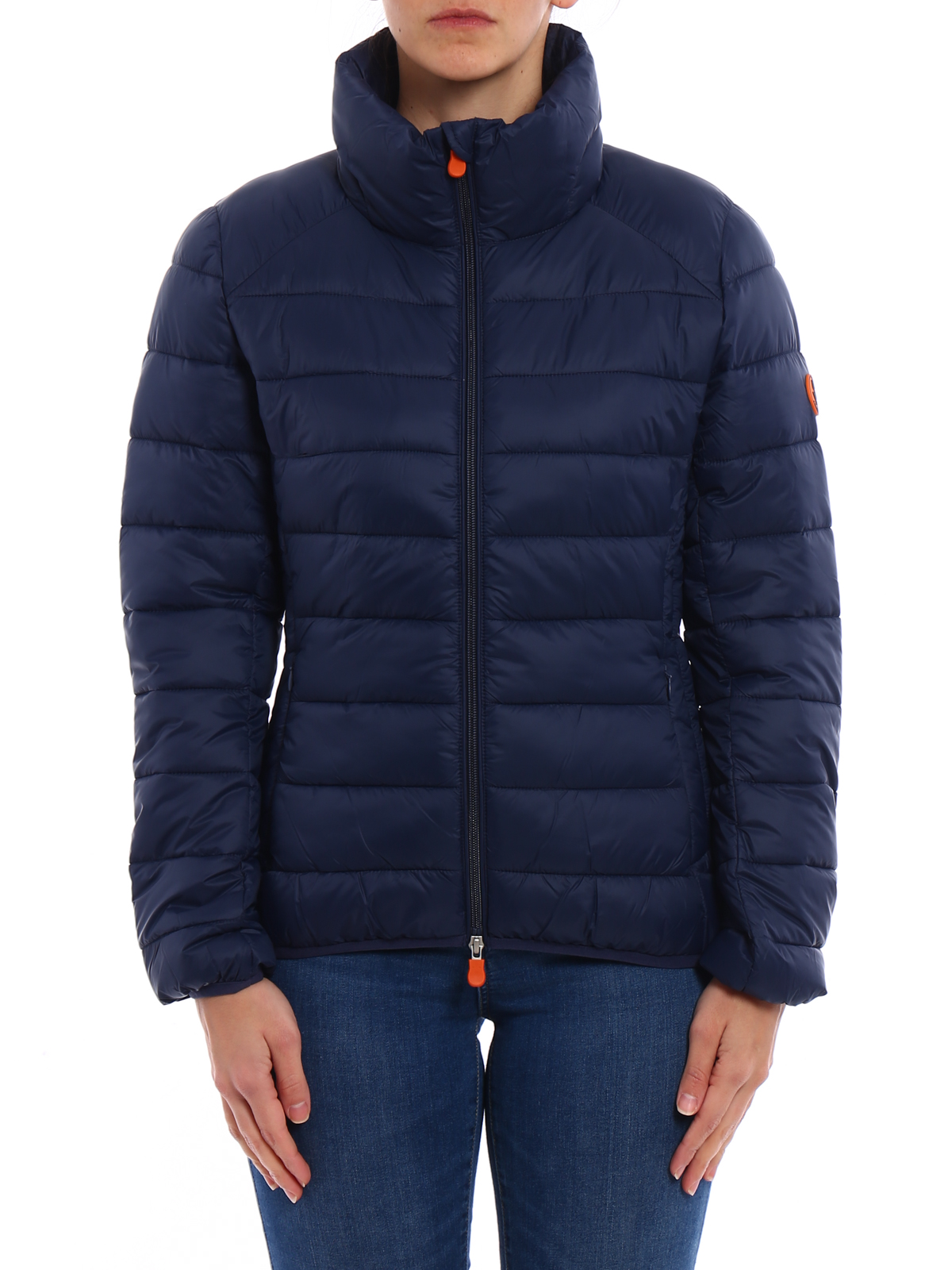Save the Duck: padded jackets online - Warm fitted navy puffer jacket
