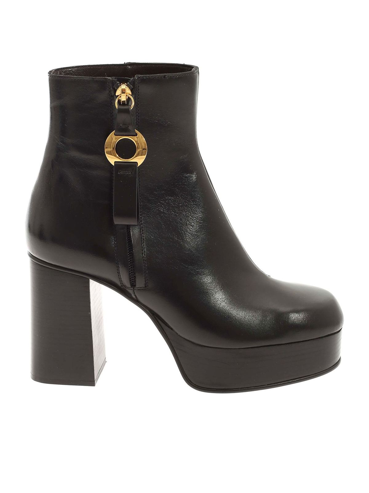 See By Chloé ROUND TOE ANKLE BOOT IN BLACK