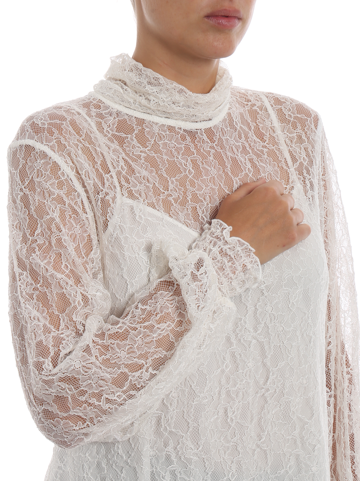 b3c19ef019e7f9 See by Chloé - White long sleeve lace blouse - blouses - S18AHT25036110