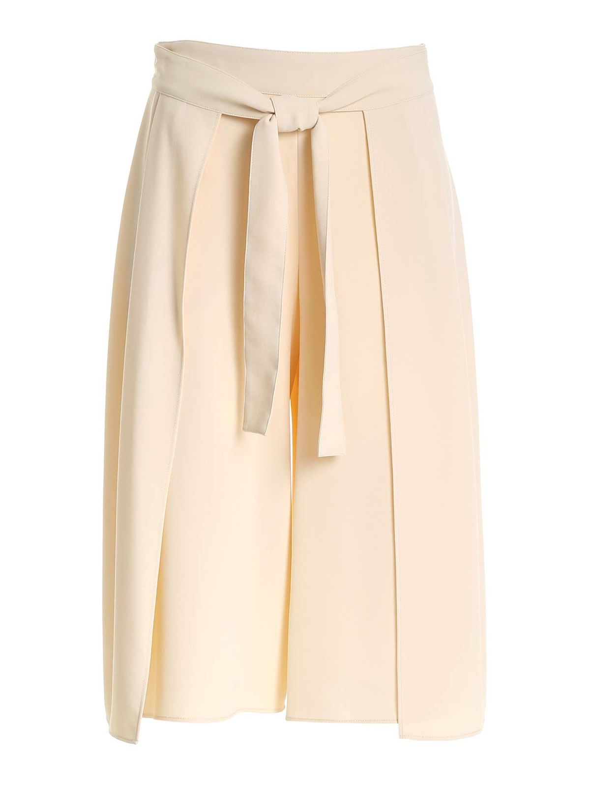 See By Chloé CROPPED BEIGE PANTS WITH FRONT RIBBON