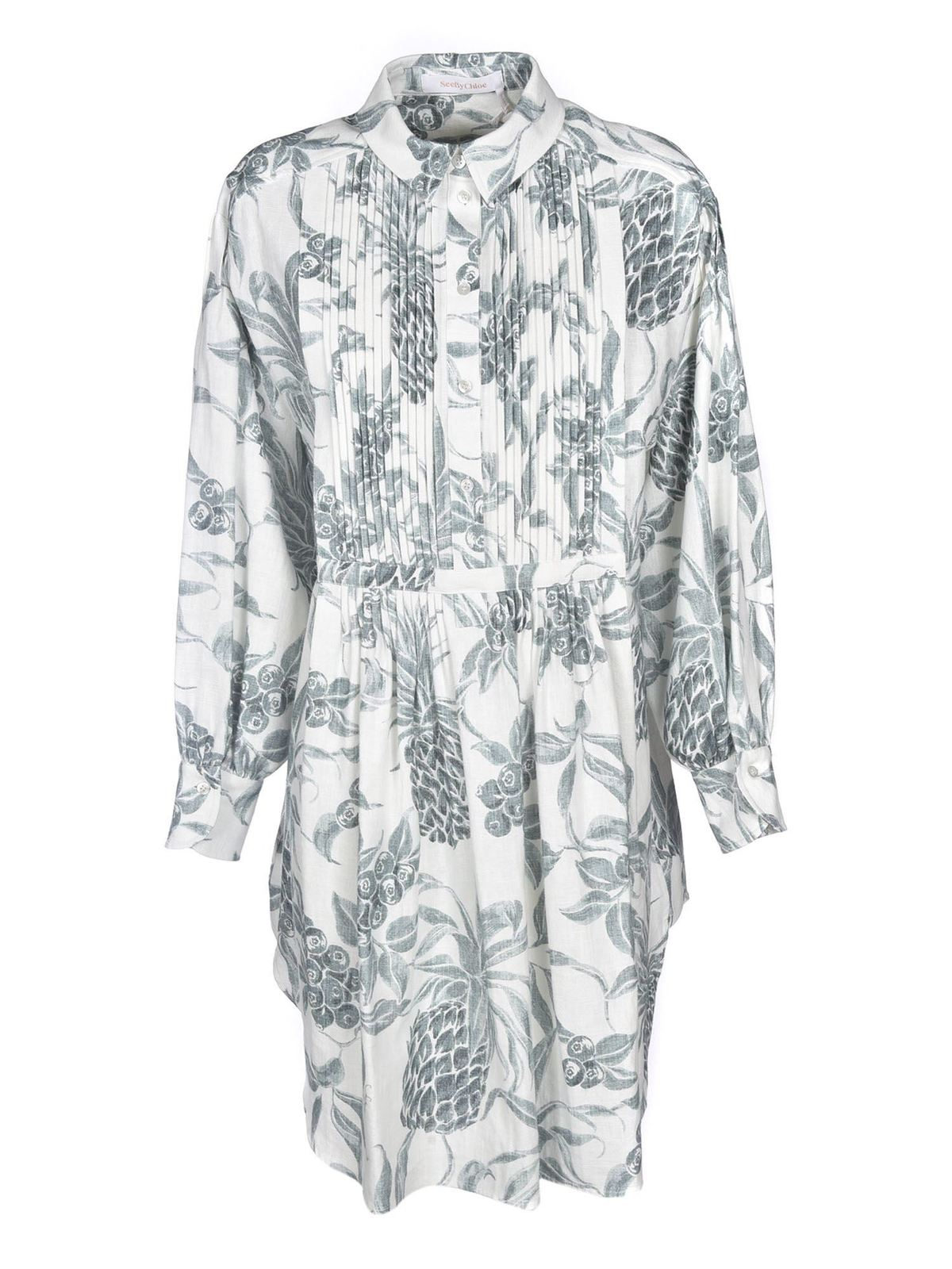 See By Chloé SPRING FRUITS PRINT SHIRT DRESS IN WHITE