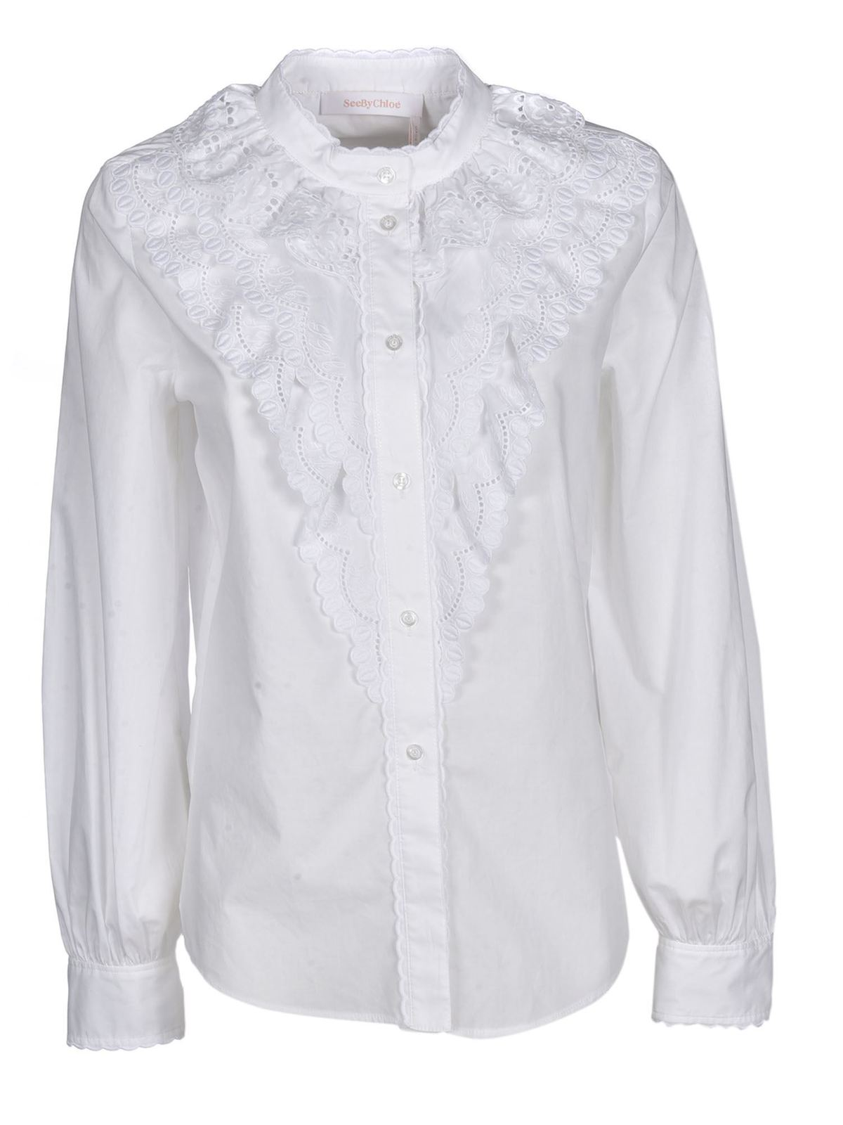 See By Chloé Cottons RUFFLE SHIRT IN WHITE