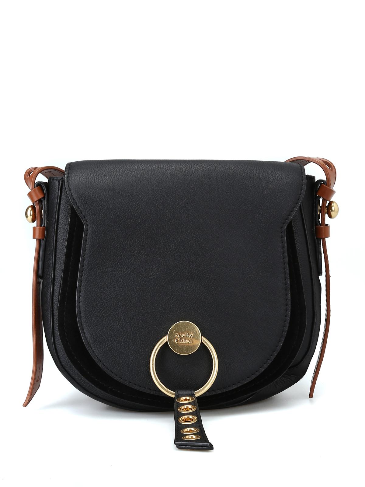 41756e2e7f See by Chloé - Lumir black leather medium saddle bag - shoulder bags ...
