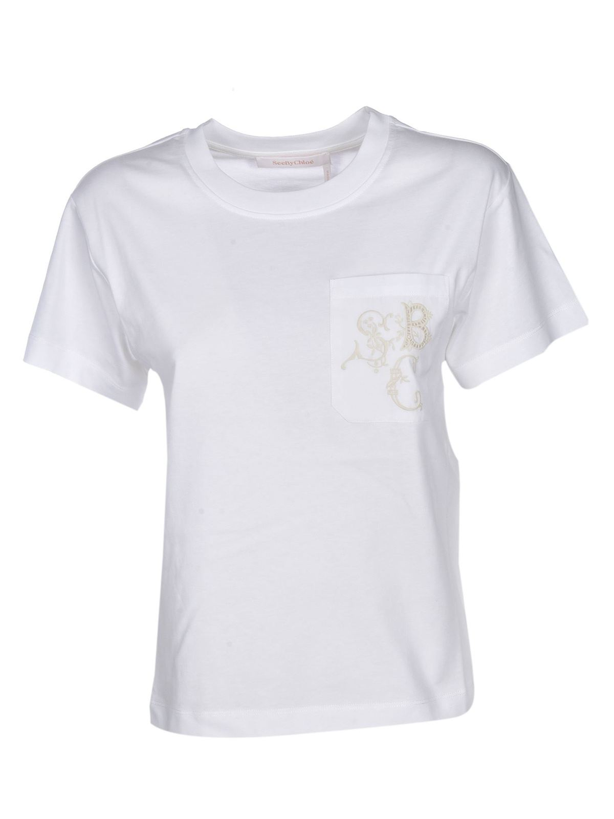 See By Chloé Cottons EMBROIDERED LOGO POCKET T-SHIRT IN WHITE