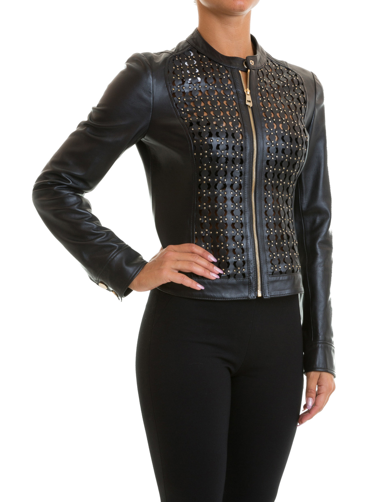 Versace Collection See Through Drilled Leather Jacket