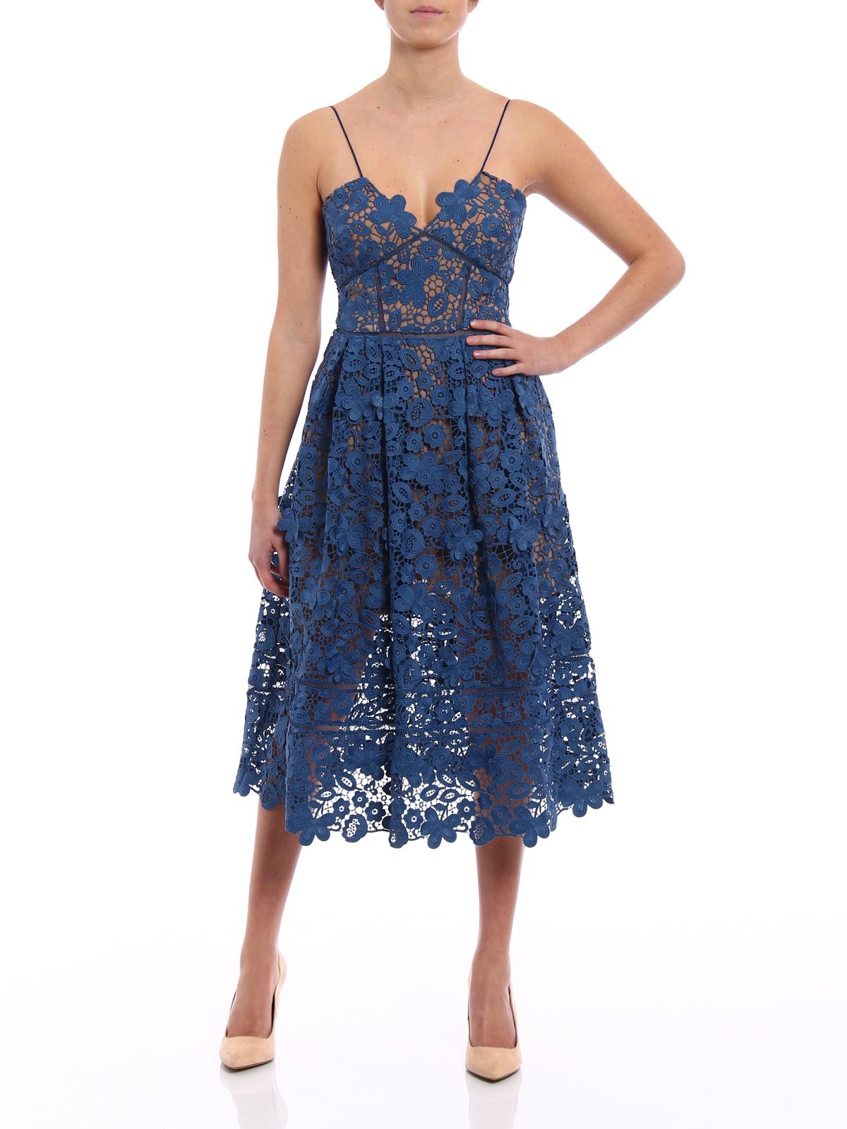 a11d10eb2545 Self Portrait: cocktail dresses online - 3D Floral Azalea blue guipure dress