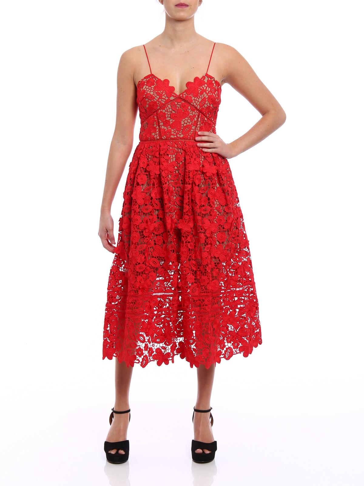 8c6a0caa704c Self Portrait: cocktail dresses online - 3D Floral Azalea red guipure dress