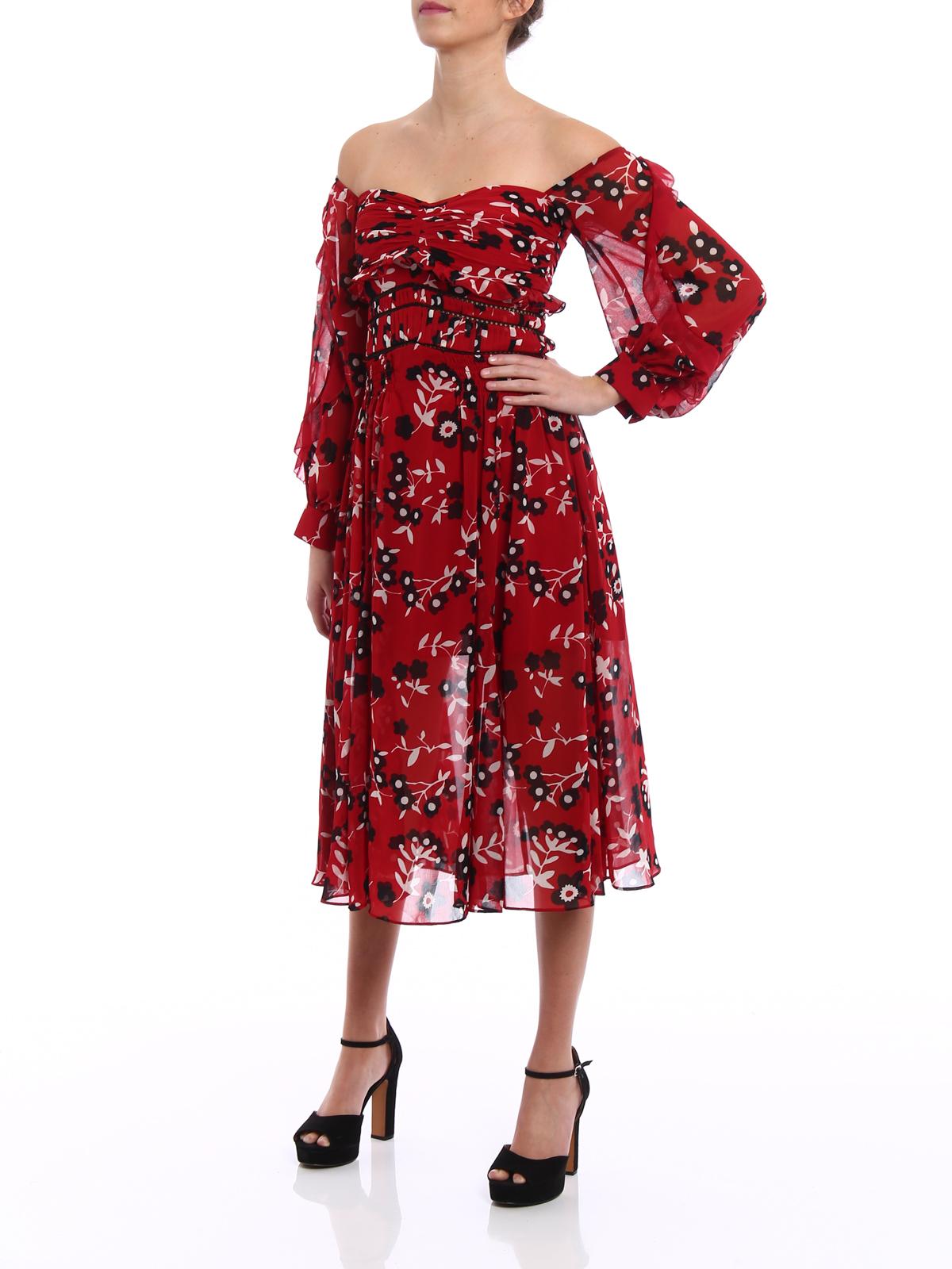 cf5bcba05286 Self Portrait: cocktail dresses online - Floral print chiffon midi dress