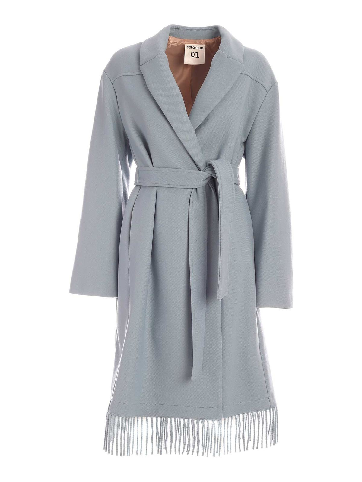 Semicouture MONIQUE DOUBLE-BREASTED COAT IN LIGHT BLUE