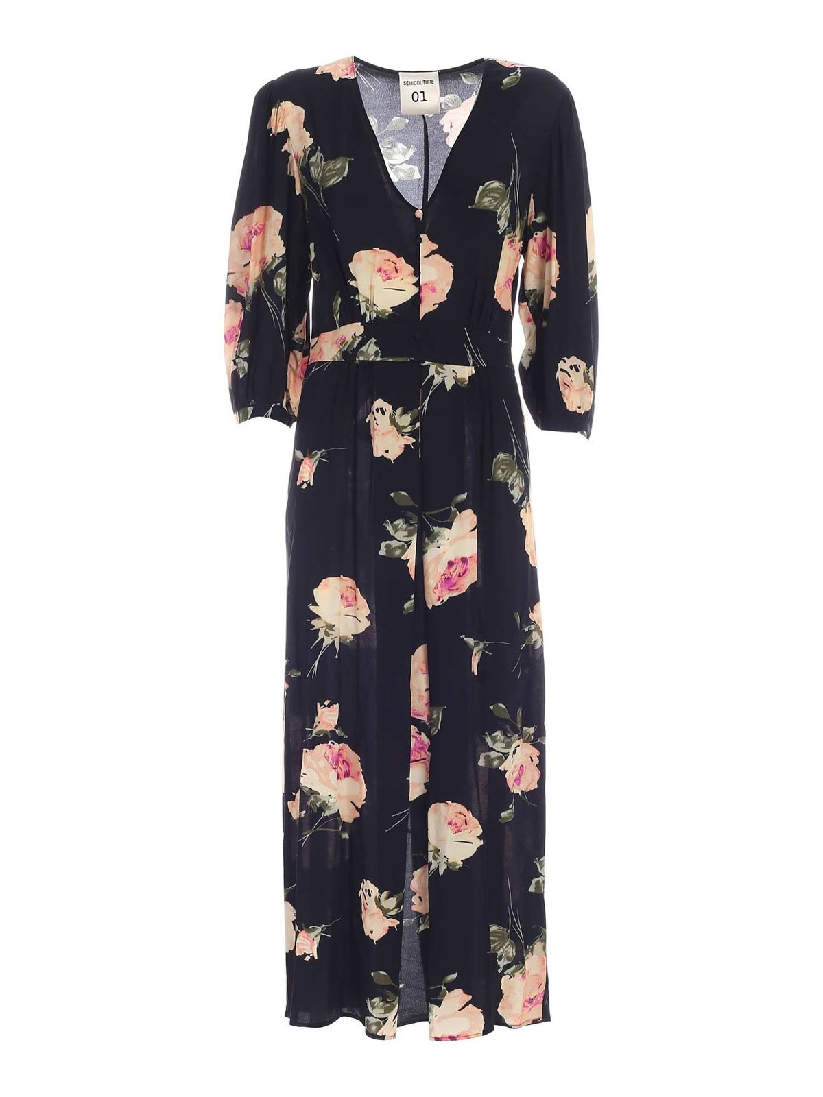 Semicouture COLLEN FLORAL PRINT DRESS IN BLACK
