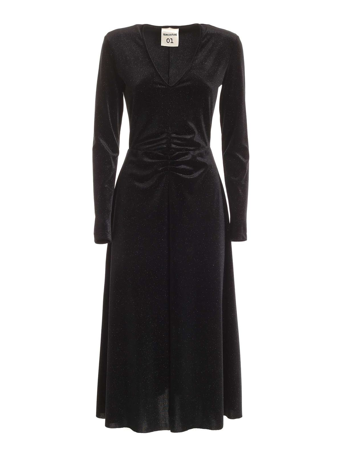 Semicouture PEGGY VELVET DRESS IN BLACK