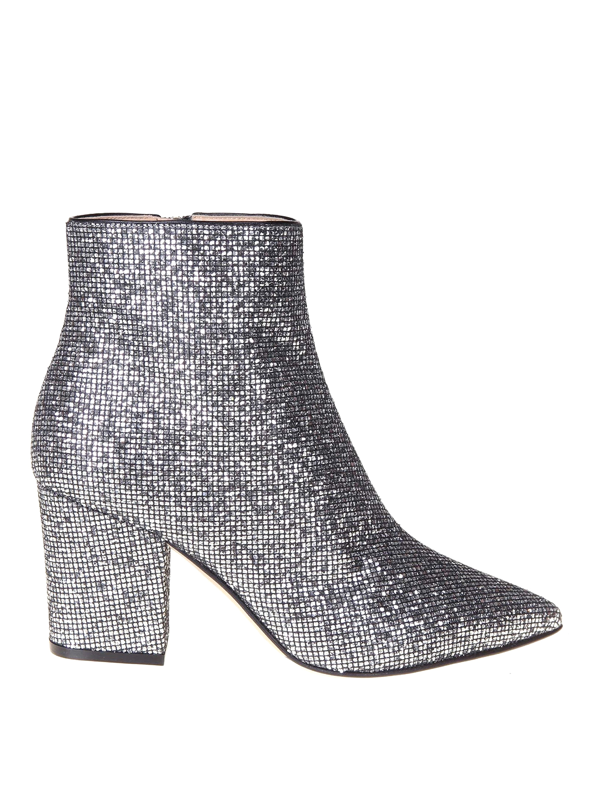 Sergio Rossi GLITTERED FABRIC ANKLE BOOTS