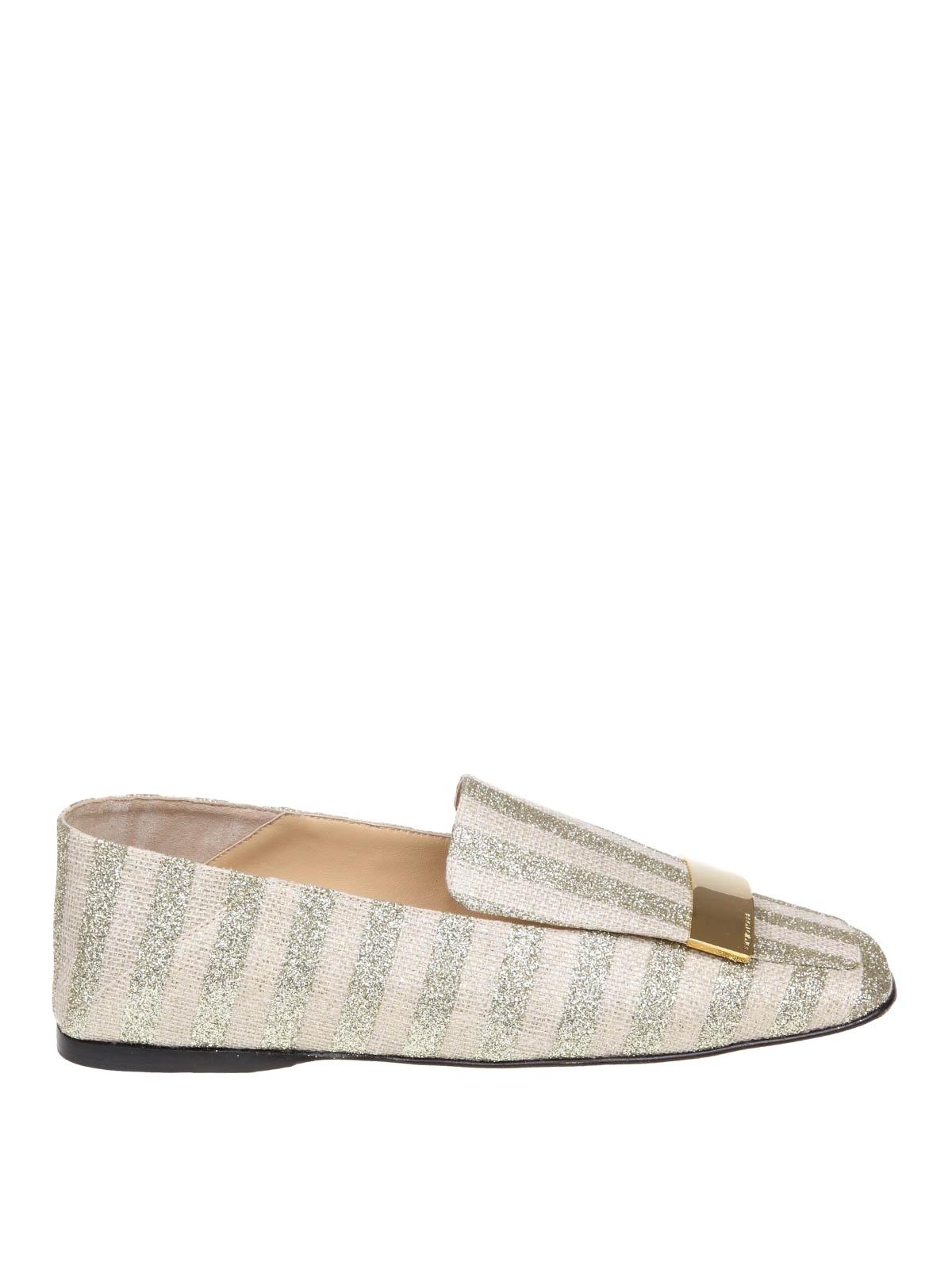 Sergio Rossi Slippers In Laminate Striped Fabric Platinum Color In Gold