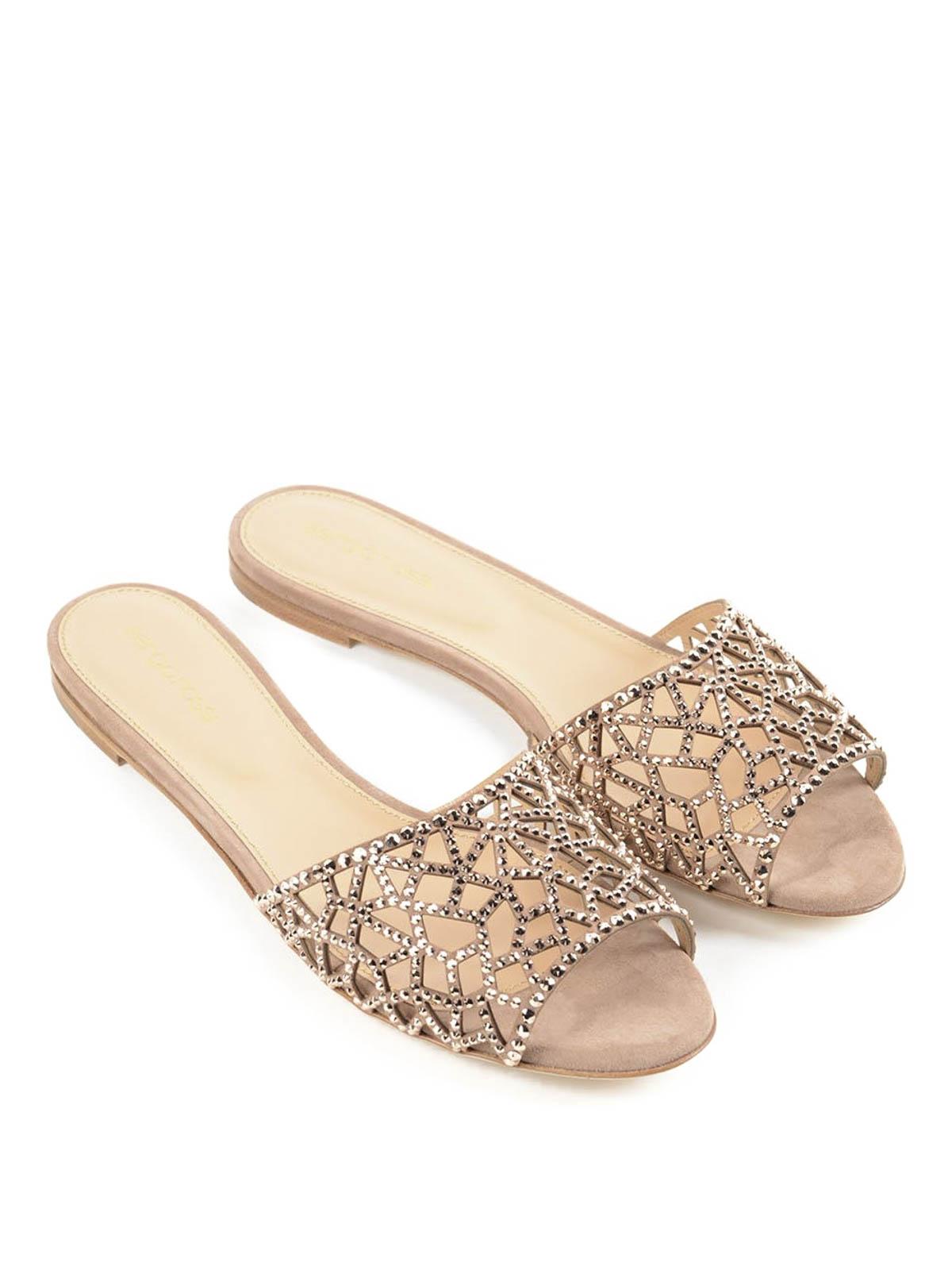 3ea3fc39645836 Sergio Rossi - Tresor crystal flat sandals - sandals - A75510 MAFM39 ...
