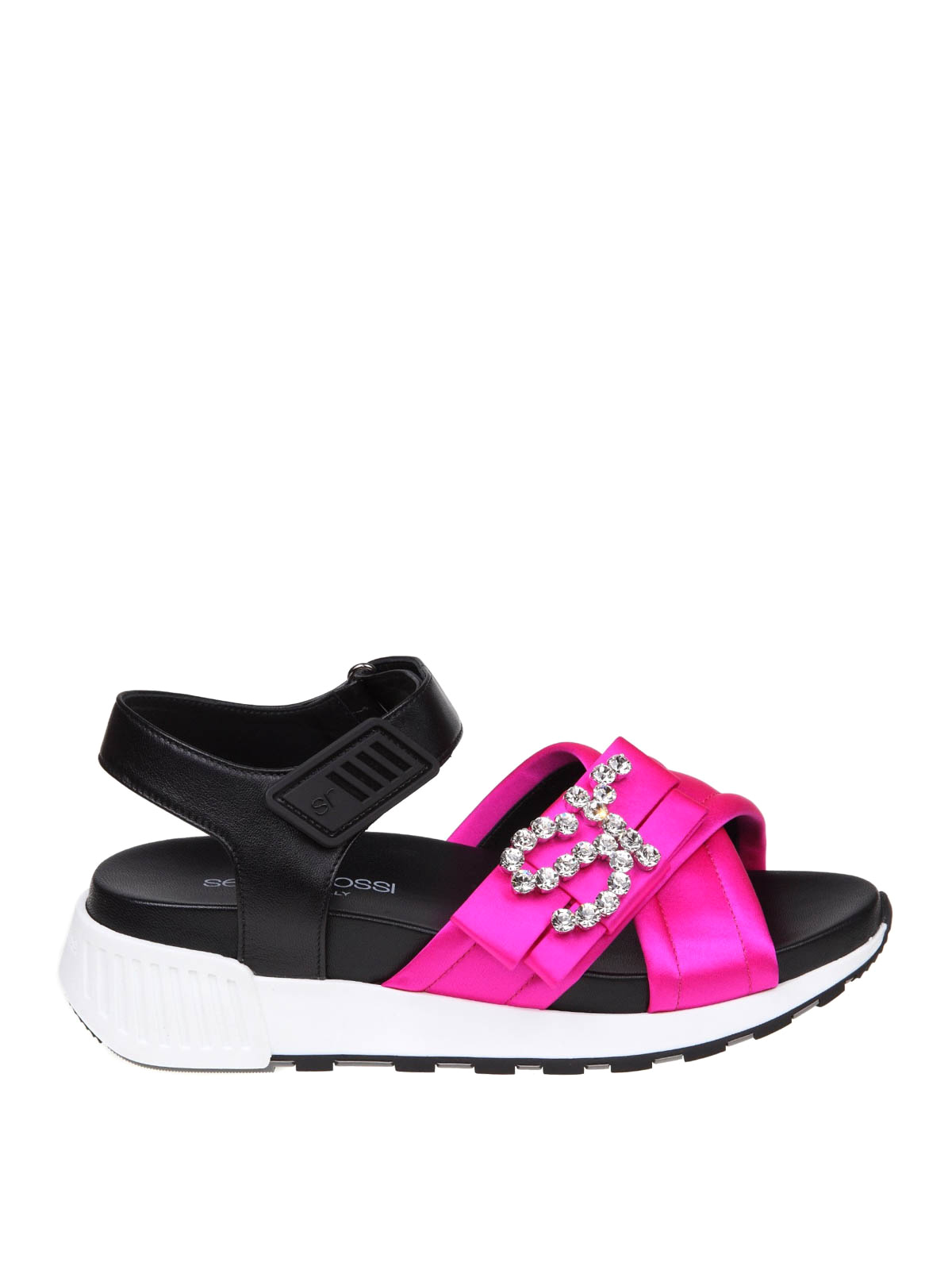 Sergio Rossi Sr Icona Satin Running Sandals In Pink