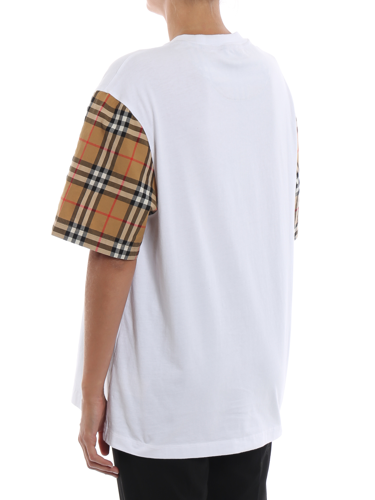 fe7740ad40 Burberry - Serra vintage check sleeve white cotton Tee - t-shirts ...