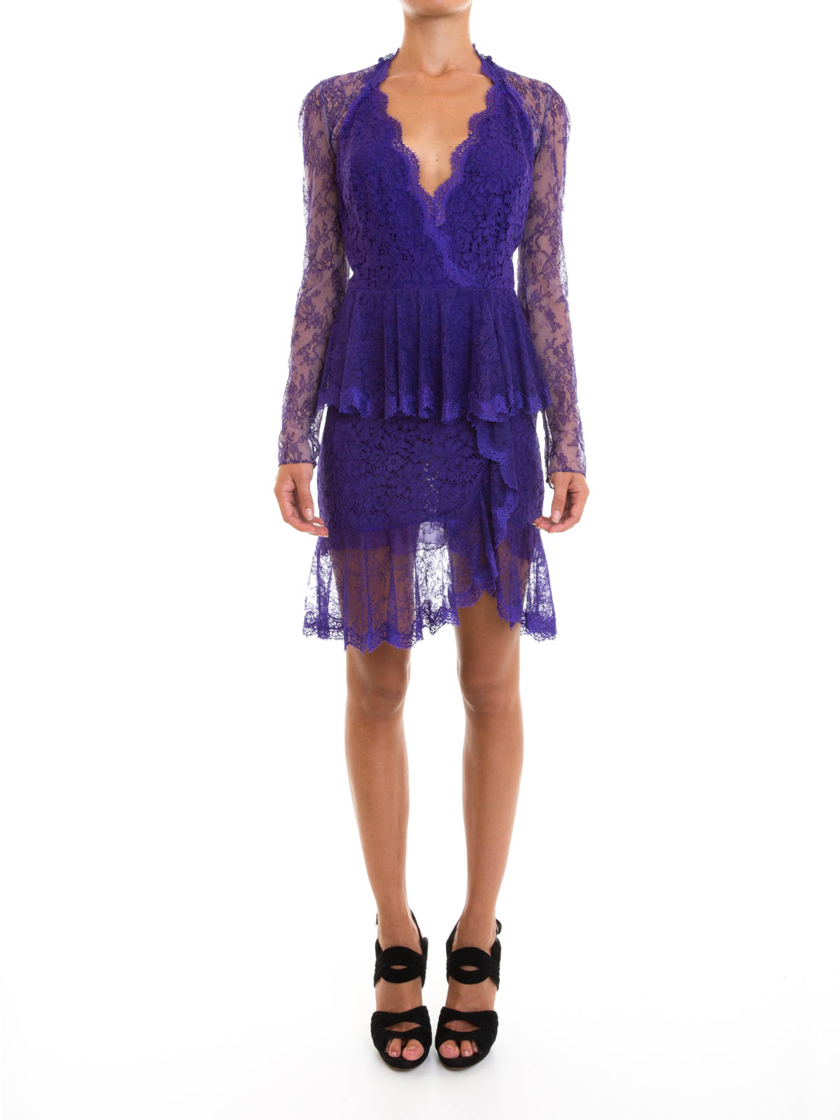 Sheer floral lace ruffle dress by Roberto Cavalli - cocktail dresses ...