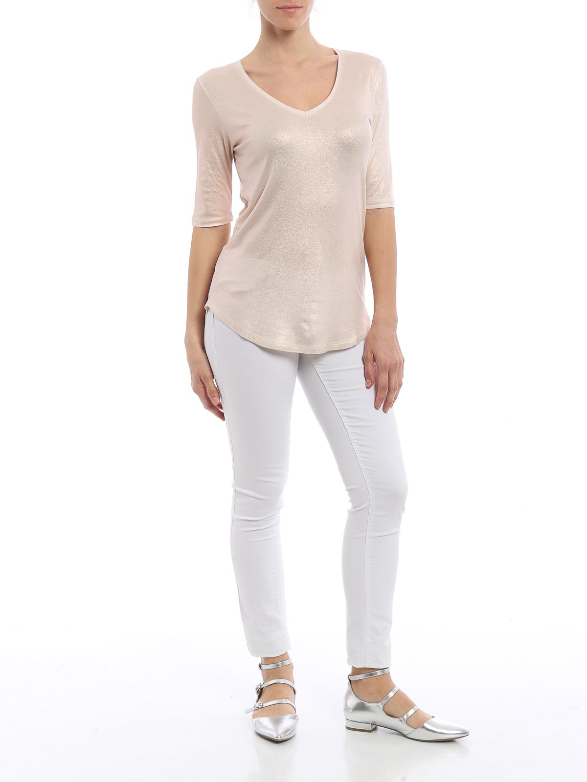 Shiny v neck t shirt by majestic filatures t shirts ikrix for V neck t shirt online shopping