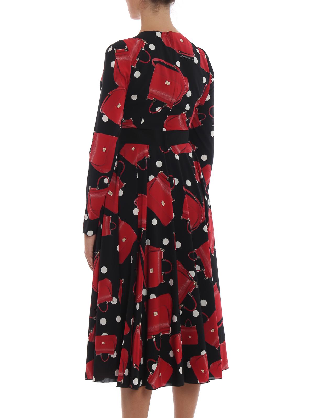 Dolce   Gabbana - Abito charmeuse con stampa borse Sicily - abiti da ... 45376091627