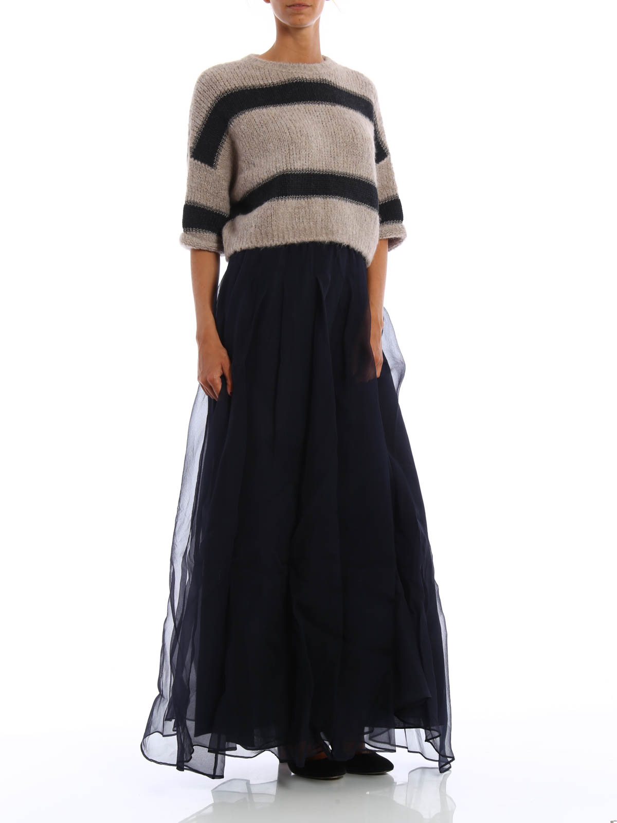 d0070fc38 Brunello Cucinelli - Silk tulle layered maxi skirt - Long skirts ...