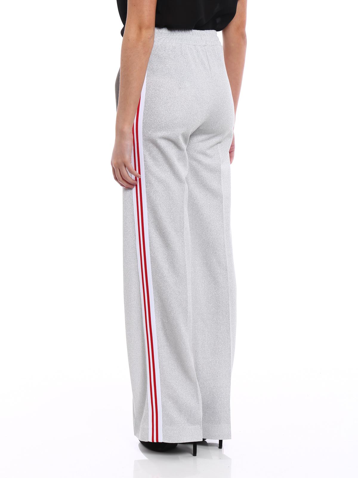 18b0029fb50e04 Dondup - Pantaloni jogging in lurex argento - pantaloni casual ...