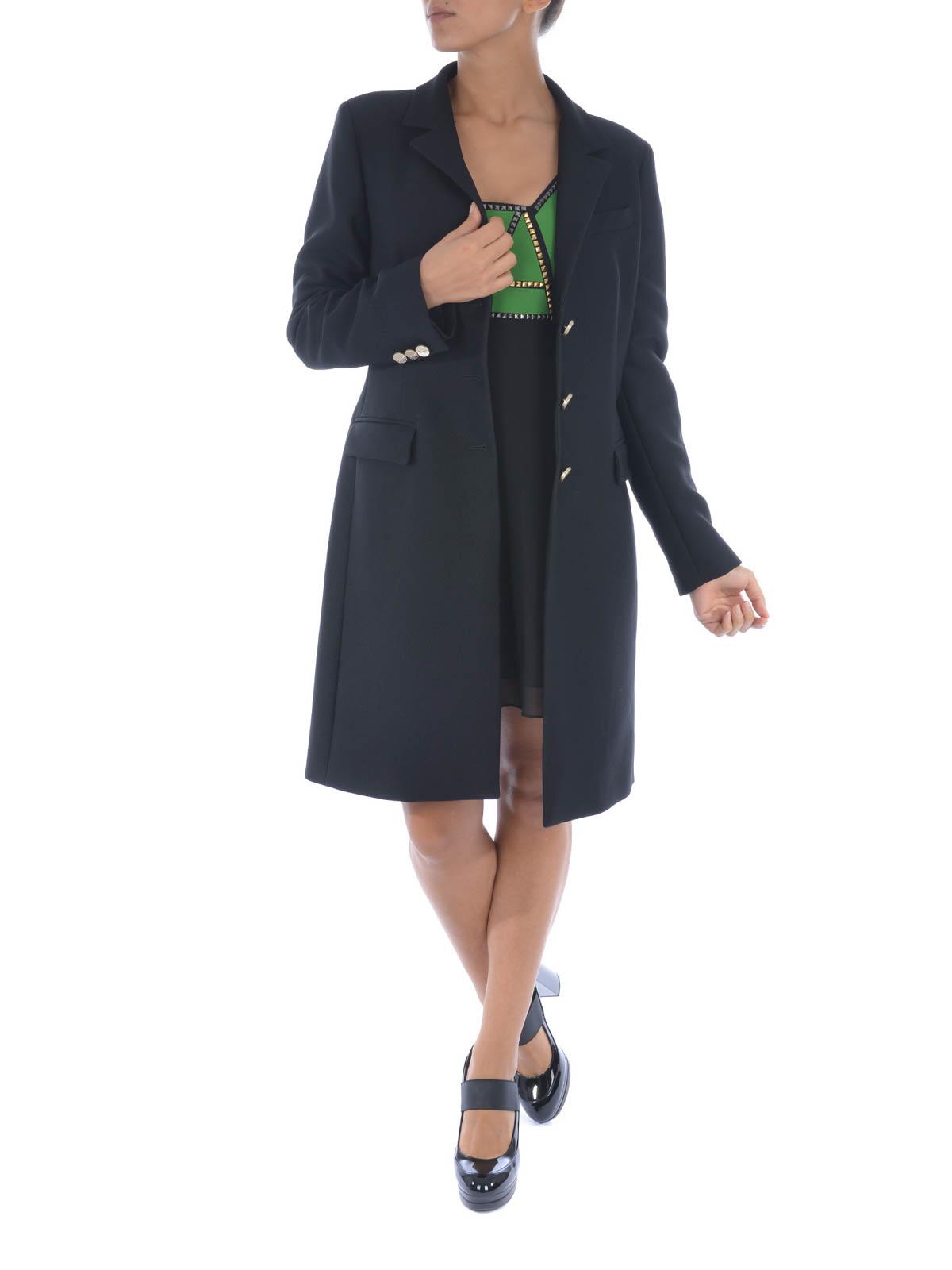 Versace cappotto classico con bottoni oro