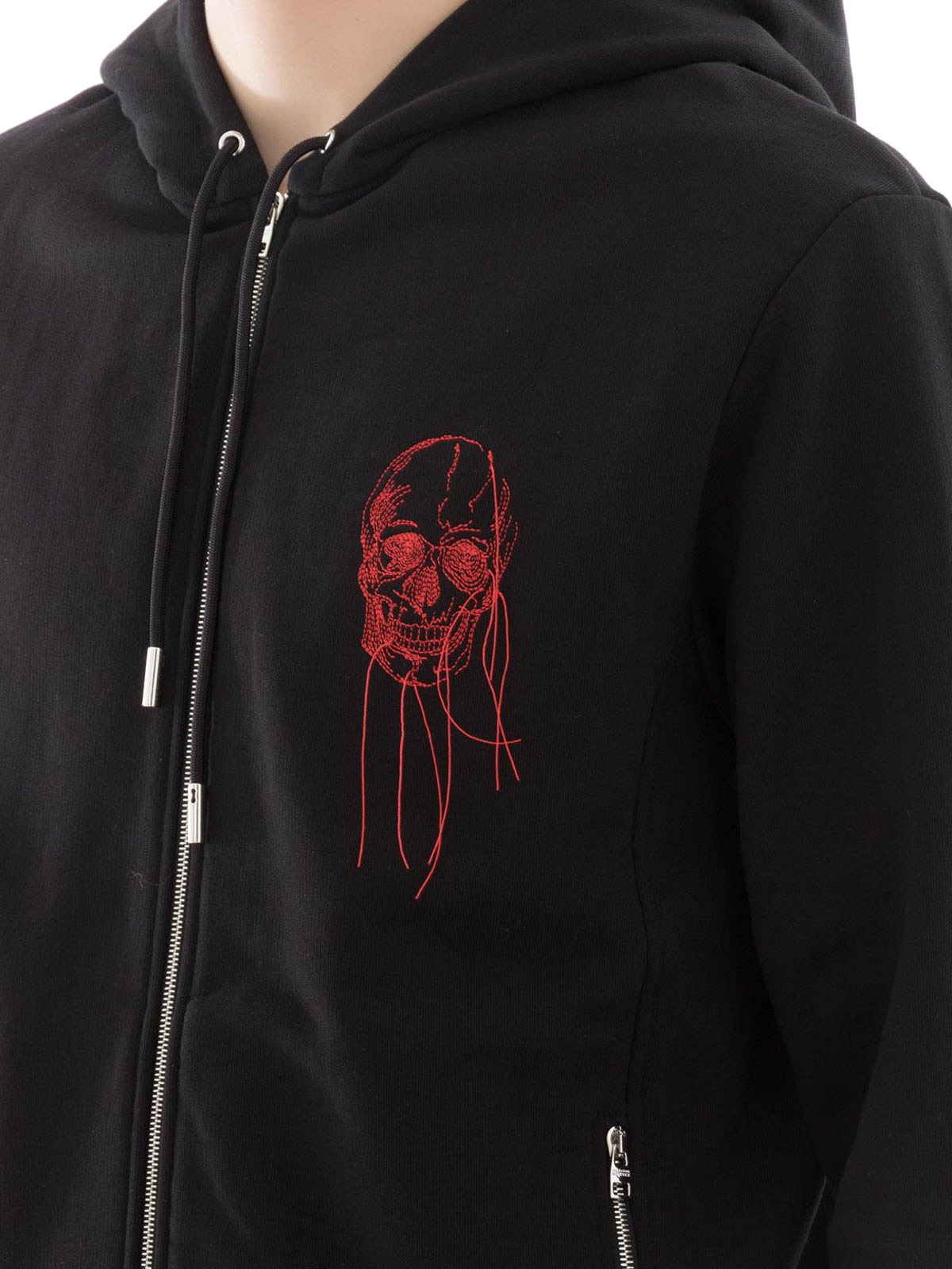 Alexander Shop Skull Online Mcqueen Hoodie Embroidered Cotton aaXqZ8
