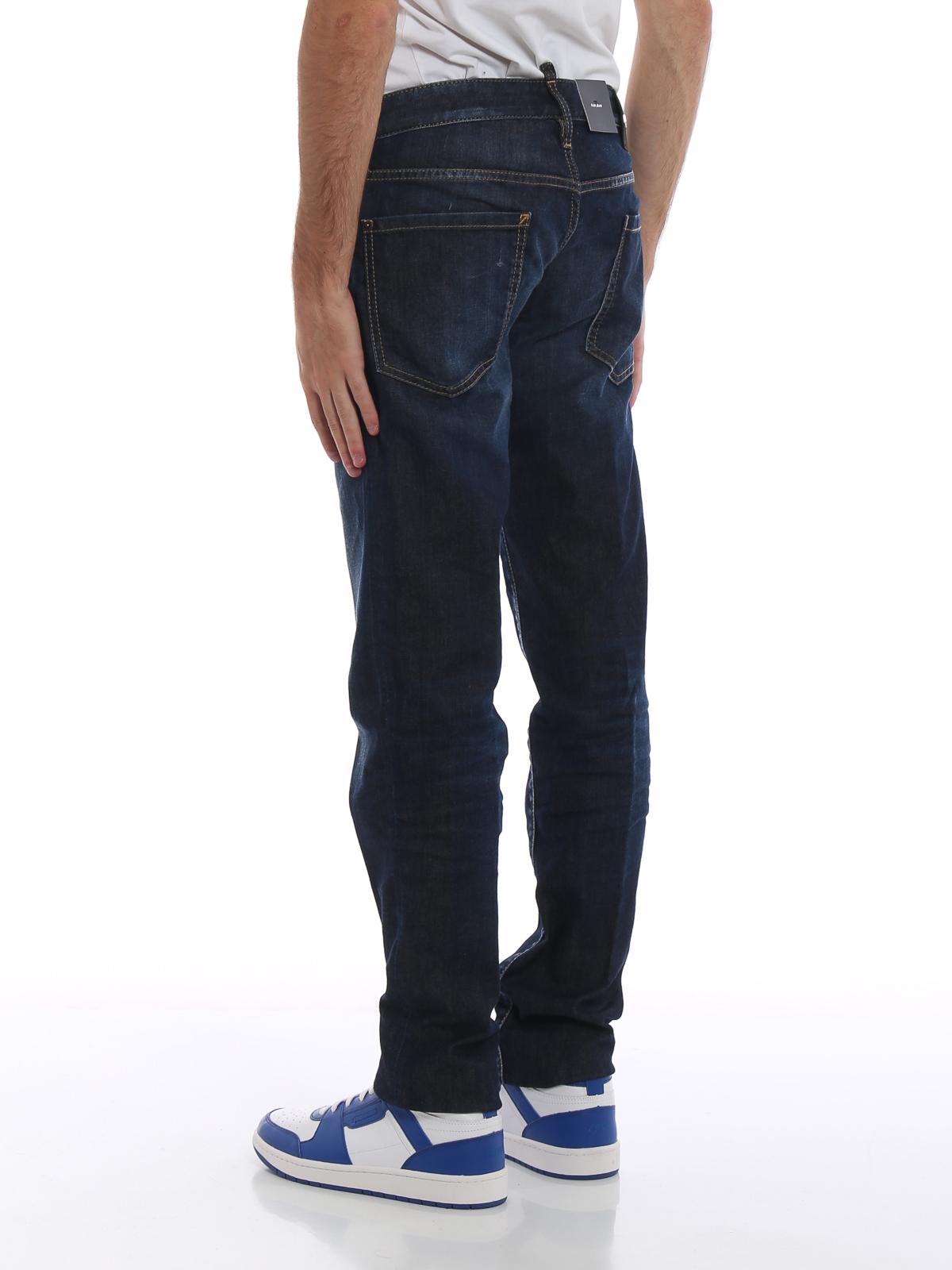 0b32fe2d7e0b98 Dsquared2 - Slim dark wash jeans - straight leg jeans ...