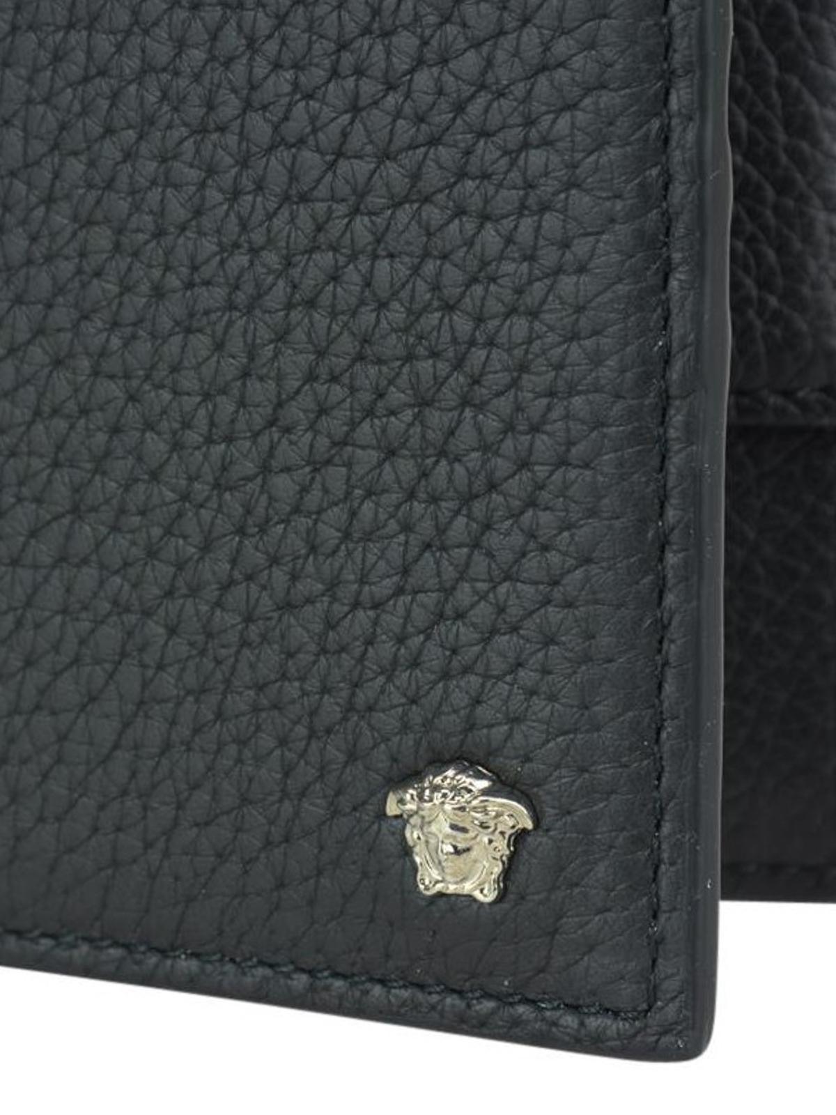 taglia 40 68300 d9274 Versace - Portafoglio in pelle con mini Testa di Medusa ...
